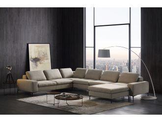 Divani Casa Cascade - Modern Beige Fabric U Shaped Sectional Sofa