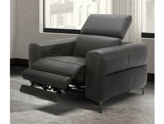 Divani Casa Meadow Dk Grey Leather Electric Recliner with Electric Headrest