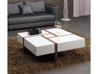 Modrest MH1316C Modern Walnut & White Square Coffee Table
