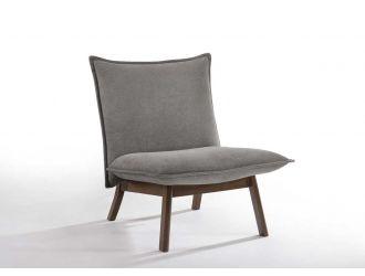 Modrest Gardner Modern Grey & Walnut Lounge Chair