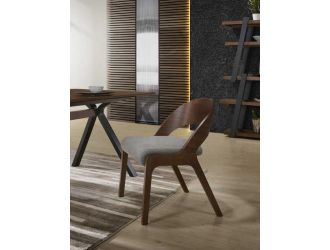 Modrest Runyon Modern Walnut & Grey Fabric Dining Chair (Set of 2)