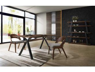 Modrest Runyon Modern Walnut & Grey Fabric Dining Set