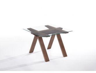 Modrest Maddox Mid-Century Glass & Walnut End Table