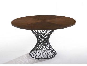 Modrest Theresa Modern Round Walnut & Black Table