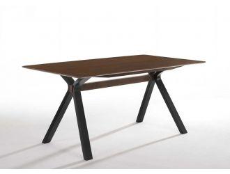 Modrest Runyon Modern Walnut & Black Dining Table