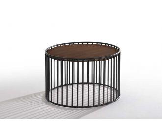 Modrest Bronson Modern Walnut & Black Round End Table