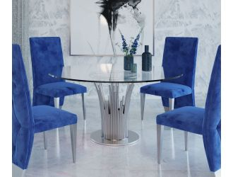 Modrest Paxton - Modern Round Glass & Stainless Steel Dining Table