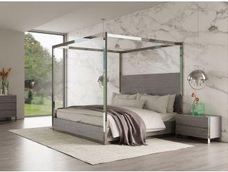 Modrest Arlene Modern Grey Elm & Stainless Steel Canopy Bed