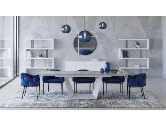 Modrest Baldwin - Modern White Ceramic Extendable Dining Table