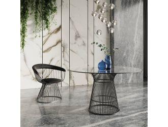 Modrest Chandler - Modern Round Glass & Black Stainless Steel Dining Table