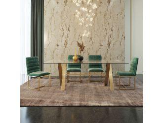 Modrest Dandy - Modern Golden & Glass Dining Table