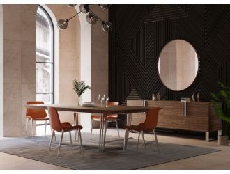 Modrest Gilroy - Modern Walnut & Stainless Steel Dining Table