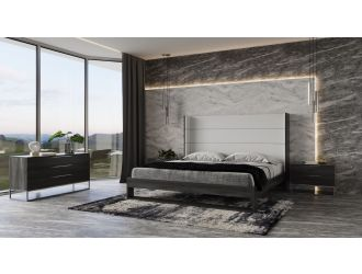 Modrest Heloise - Contemporary White Leather & Grey Elm Trim Bed