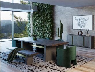 Modrest June - Modern Dark Grey & Walnut Dining Table