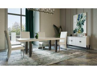 Modrest Lenny- Modern White High Gloss & Stainless Steel Gun Metal Dining Table