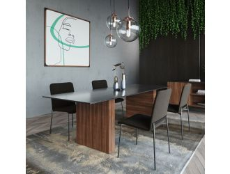 Modrest Maggie - Modern Walnut and Black Ceramic Top Dining Table
