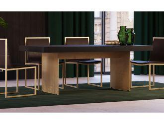 Modrest Perret - Glam Black Ash & Brushed Brass Dining Table