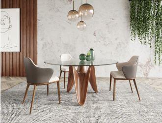 Modrest Seguin - Round Glass + Walnut Dining Table