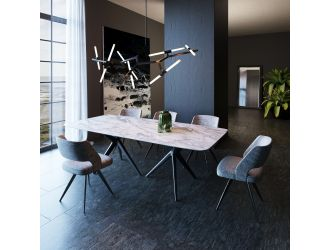Modrest Stetson - Modern White Ceramic & Smoked Ash Dining Table