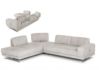 Coronelli Collezioni Mood - Contemporary Light Grey Leather Left Facing Sectional Sofa