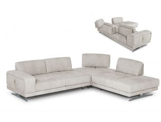 Coronelli Collezioni Mood - Contemporary Light Grey Leather Right Facing Sectional Sofa