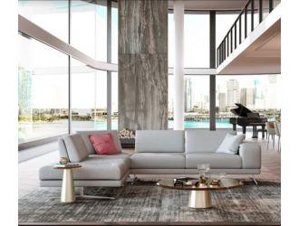 Coronelli Collezioni Mood - Contemporary Grey Leather Left Facing Sectional Sofa