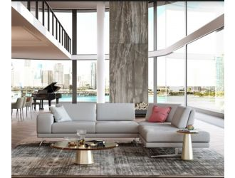 Coronelli Collezioni Mood - Contemporary Grey Leather Right Facing Sectional Sofa