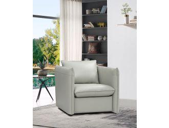 Divani Casa Tamworth Modern Grey Leather Swivel Chair
