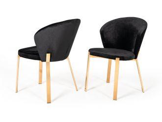 Modrest Nadia Modern Black Velvet & Rosegold Dining Chair (Set of 2)