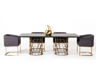 Modrest Natalie Modern Black Acacia & Antique Brass Dining Table