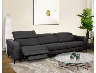 Divani Casa Nella - Modern Black Leather 4-Seater Sofa w/ Electric Recliners