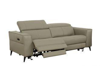 Divani Casa Nella - Modern Light Grey Leather 3-Seater Sofa w/ Electric Recliners