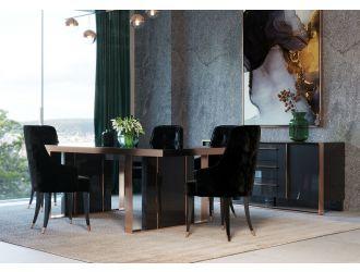 Nova Domus Cartier Modern Black & Rosegold Dining Table