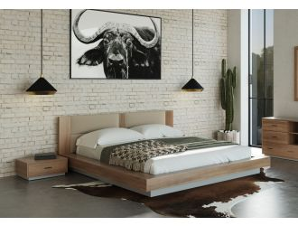 Nova Domus Fantasia - Contemporary Walnut & Grey Bed with Two Nightstands