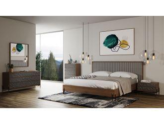 Nova Domus Metcalf - Mid-Century Walnut & Grey Bedroom Set