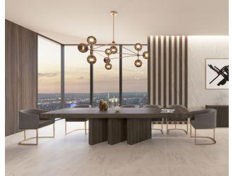 Nova Domus Unico - Modern Dark Eucalyptus Extendable Dining Table