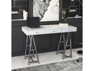 Modrest Ostrow - White + Stainless Steel Desk