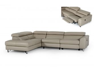 Divani Casa Versa - Modern Light Taupe Teco-Leather Left Facing Sectional Sofa with Recliner