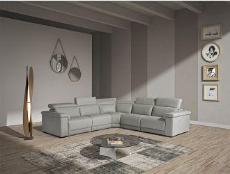 Estro Salotti Palinuro - Modern Grey Leather Sectional Sofa