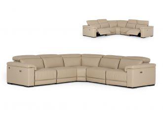 Estro Salotti Palinuro - Italian Modern Taupe Leather Sectional Sofa with Recliners