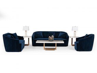 Divani Casa Palomar Modern Blue Velvet & Brass Sofa Set