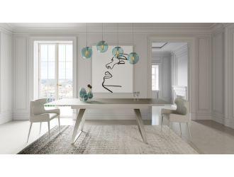 Modrest Pittson - Modern Extendable Grey Glass Dining Table