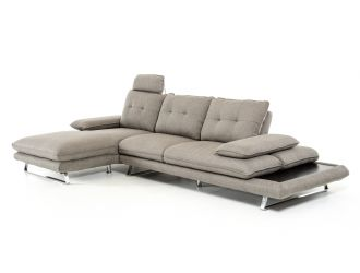Divani Casa Porter - Modern Grey Fabric Left Facing Sectional Sofa