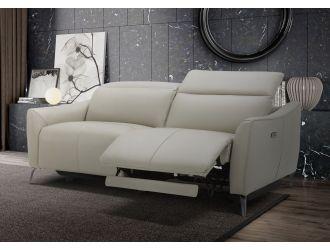 Divani Casa Prairie Modern Light Grey Leather Dual Electric Sofa Recliner with Electric Headrest