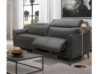 Divani Casa Prairie Modern Dark Grey Leather Dual Electric Sofa Recliner with Electric Headrest