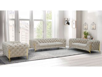Divani Casa Quincey - Transitional Beige Velvet Sofa Set