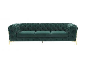 Divani Casa Quincey - Transitional Emerald Green Velvet Sofa