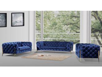 Divani Casa Quincey - Transitional Blue Velvet Sofa Set