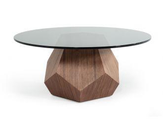 Modrest Rackham Mid-Century Walnut & Smoked Glass Coffee Table