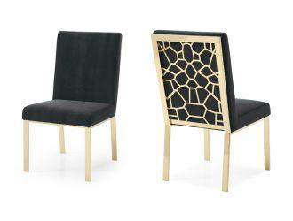 Modrest Reba Modern Black Velvet & Gold Dining Chair (Set of 2)